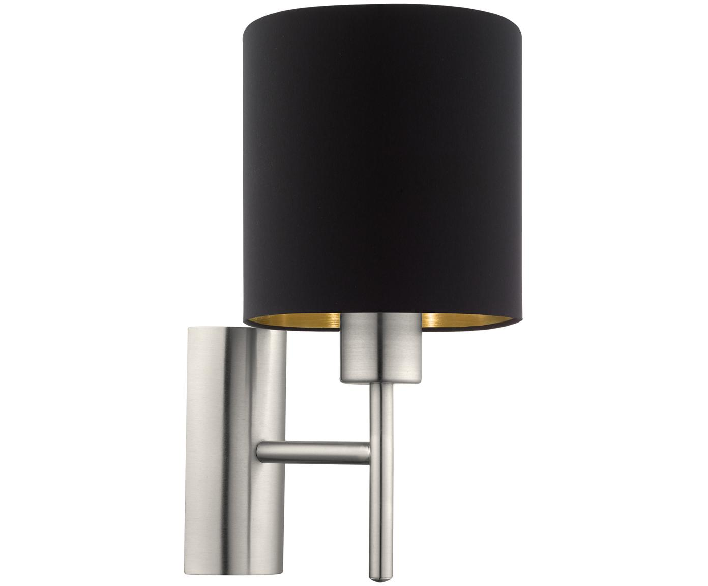 Wandlamp Jamie, Baldakijn: vernikkeld metaal, Zilverkleurig, zwart, Ø 15 x H 31 cm