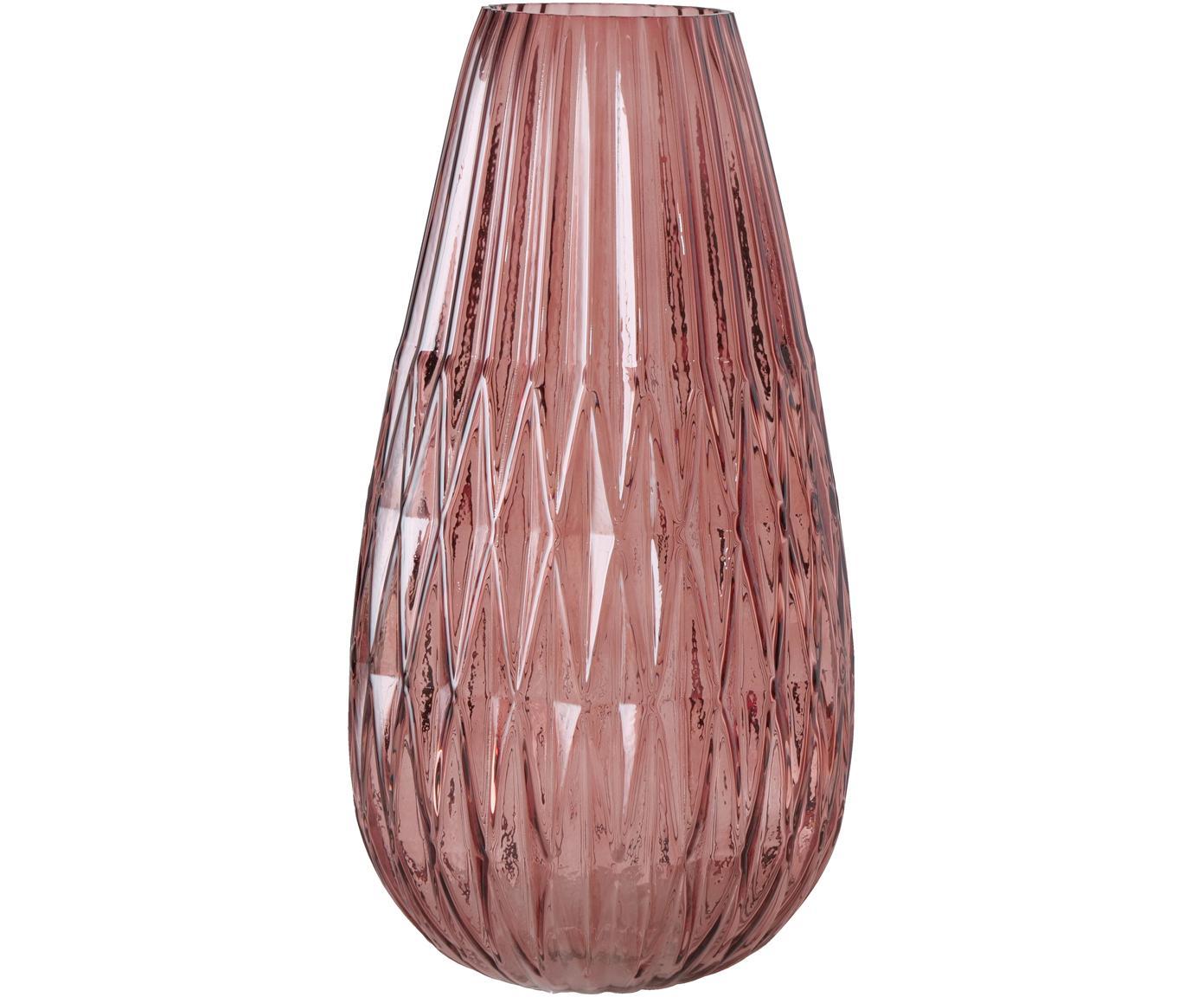 Jarrón grande de vidrio Rubina, Vidrio, Rosa, Ø 20 x Al 36 cm
