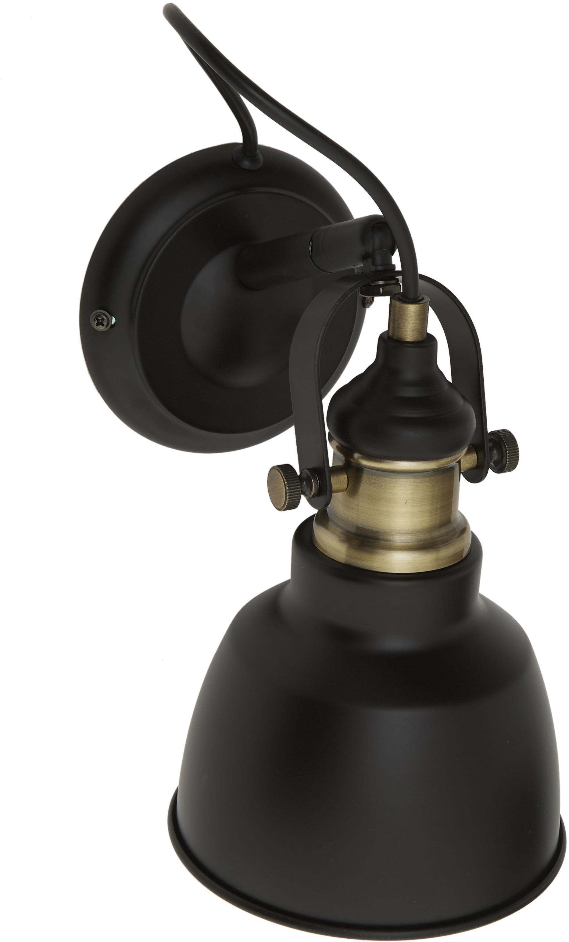 Wandlamp Thornford, Zwart, messingkleurig, 15 x 20 cm