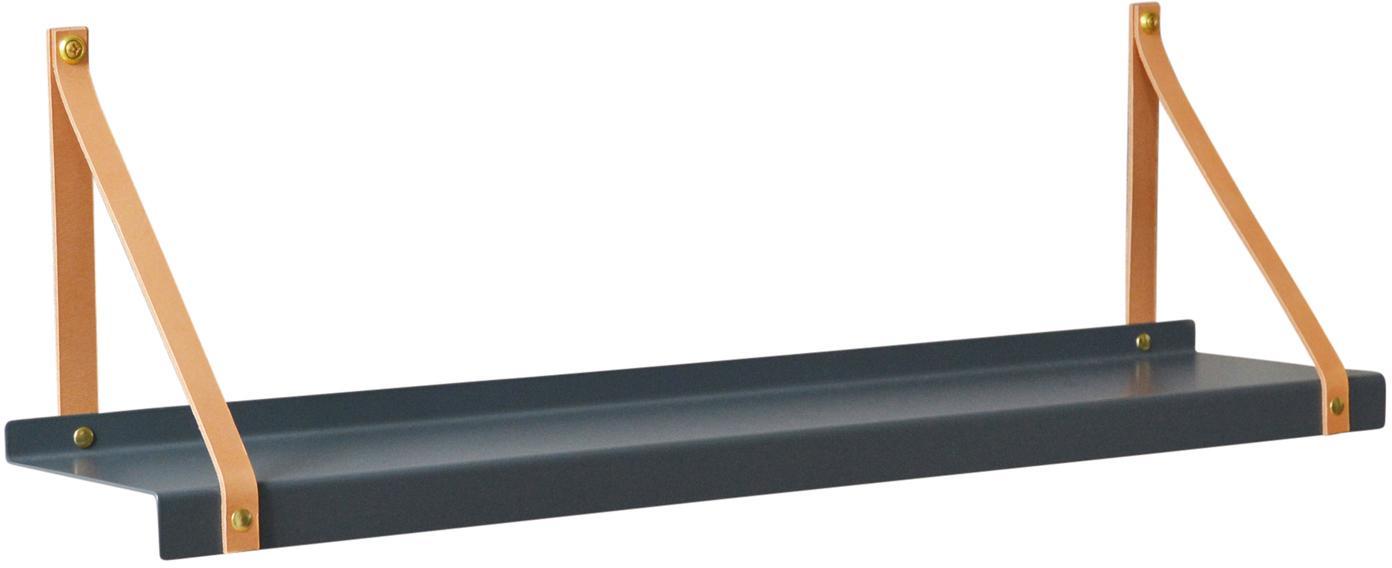 Metall-Wandregal Shelfie mit Lederriemen, Regalbrett: Metall, pulverbeschichtet, Riemen: Leder, Grau, Braun, B 75 x T 15 cm