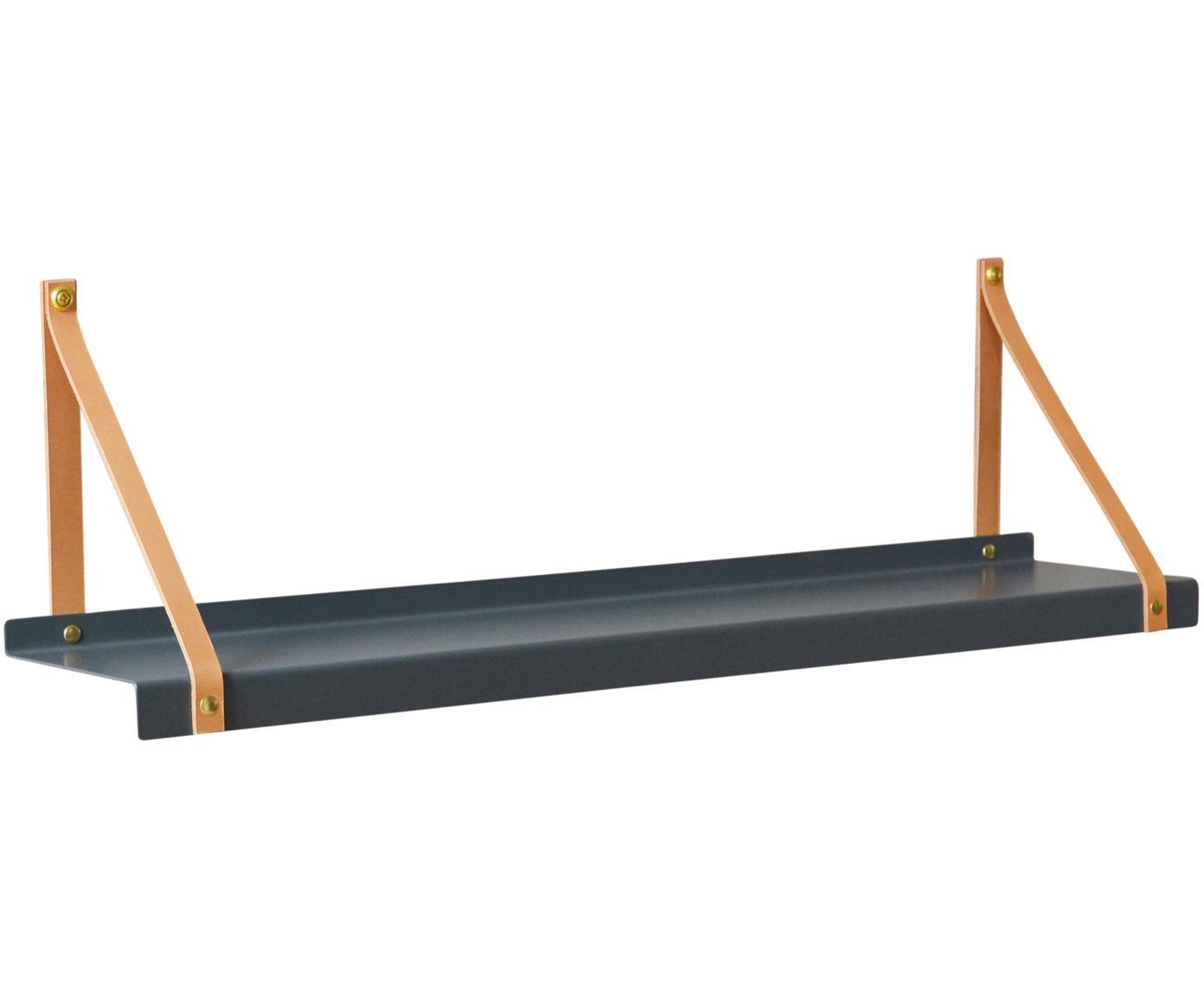 Wandplank Shelfie, Plank: gepoedercoat metaal, Riemen: leer, Grijs, bruin, B 75 x D 15 cm