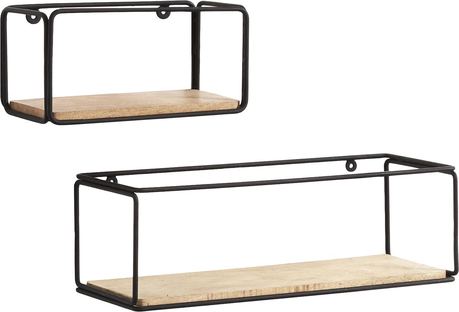 Komplet półek ściennych industrial Nezz, 2 elem., Stelaż: metal lakierowany, Czarny, brązowy, Komplet z różnymi rozmiarami