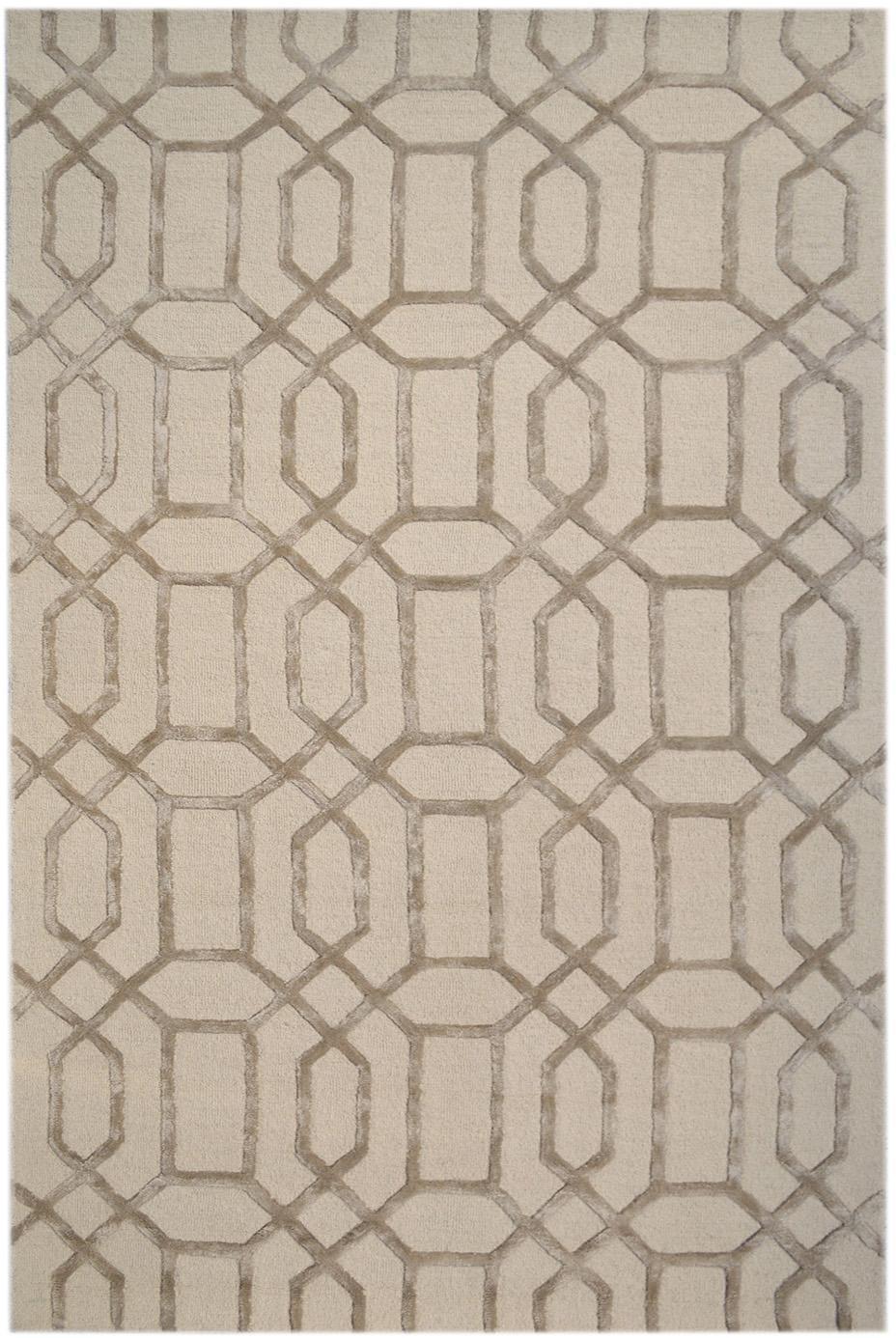 Alfombra artesanal de lana Vegas, Parte superior: 80%lana, 20%viscosa, Reverso: algodón, Beige, crema, An 120 x L 185 cm (Tamaño S)