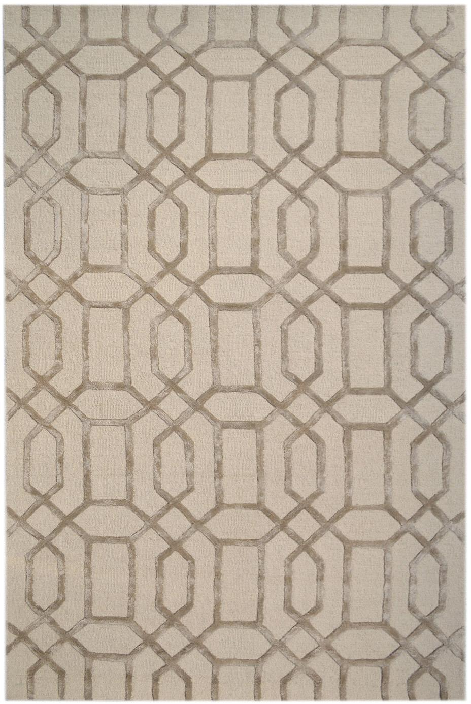 Handgetufteter Wollteppich Vegas mit Hoch-Tief-Effekt, Flor: 80% Wolle, 20% Viskose, Beige, Creme, B 120 x L 185 cm (Größe S)