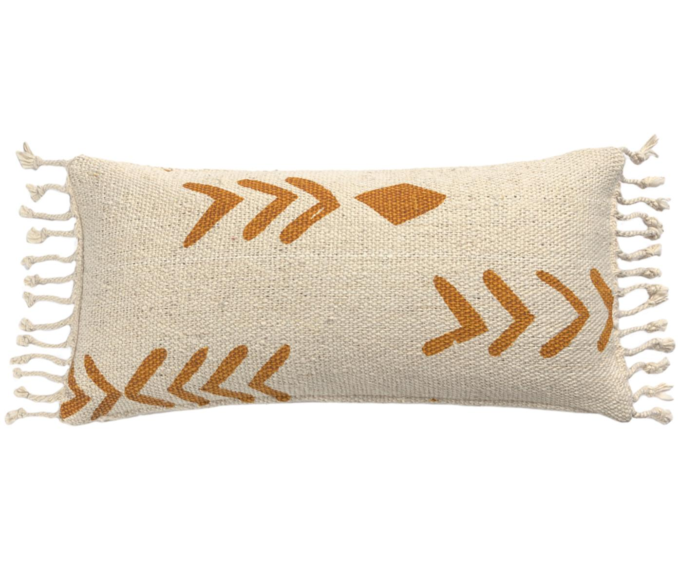 Kissenhülle Moises, 100% Baumwolle, Gebrochenes Weiss, Senfgelb, 30 x 60 cm