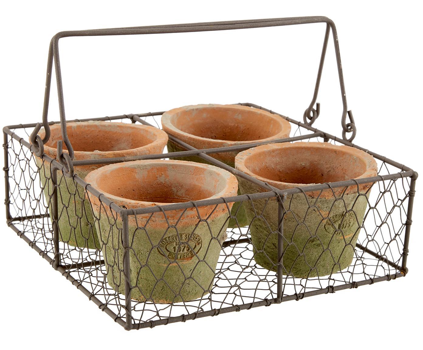 Set de macetas Daria, 5pzas., Cesta: metal, Terracota, marrón, An 24x Al 10 cm