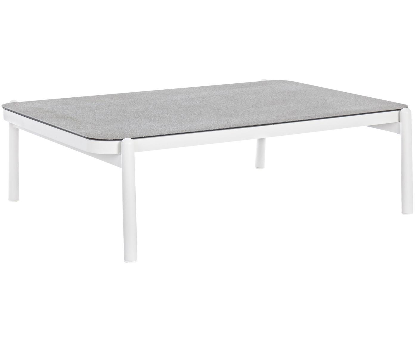 Tavolino con piano in vetro Florencia, Struttura: alluminio verniciato a po, Piano d'appoggio: vetro rivestito, Grigio, bianco, Larg. 120 x Prof. 75 cm