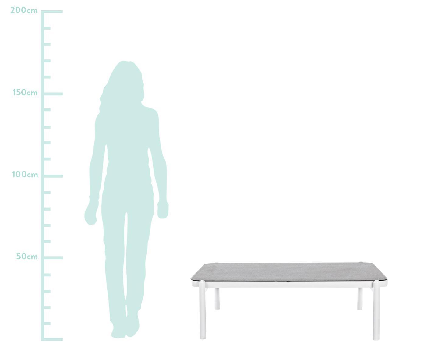 Lounge tafel Florencia, Frame: gepoedercoat aluminium, Tafelblad: gecoat glas, Grijs, wit, B 120 x D 75 cm