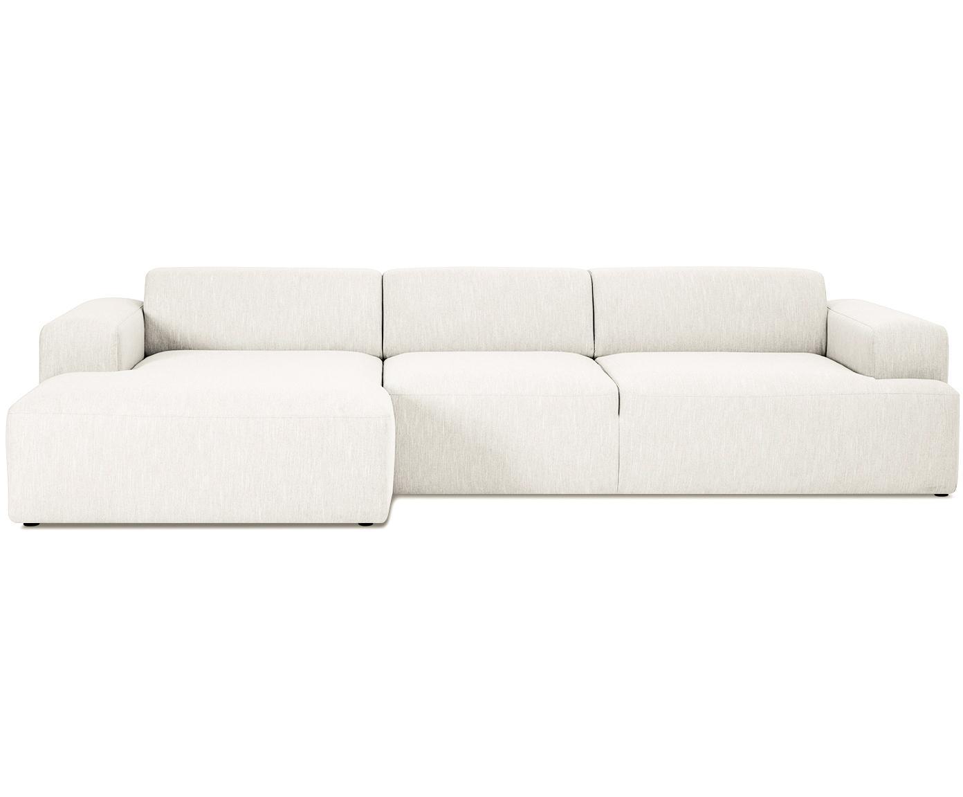 Ecksofa Melva (4-Sitzer), Bezug: Polyester Der hochwertige, Gestell: Massives Kiefernholz, Spa, Webstoff Beige, B 319 x T 144 cm