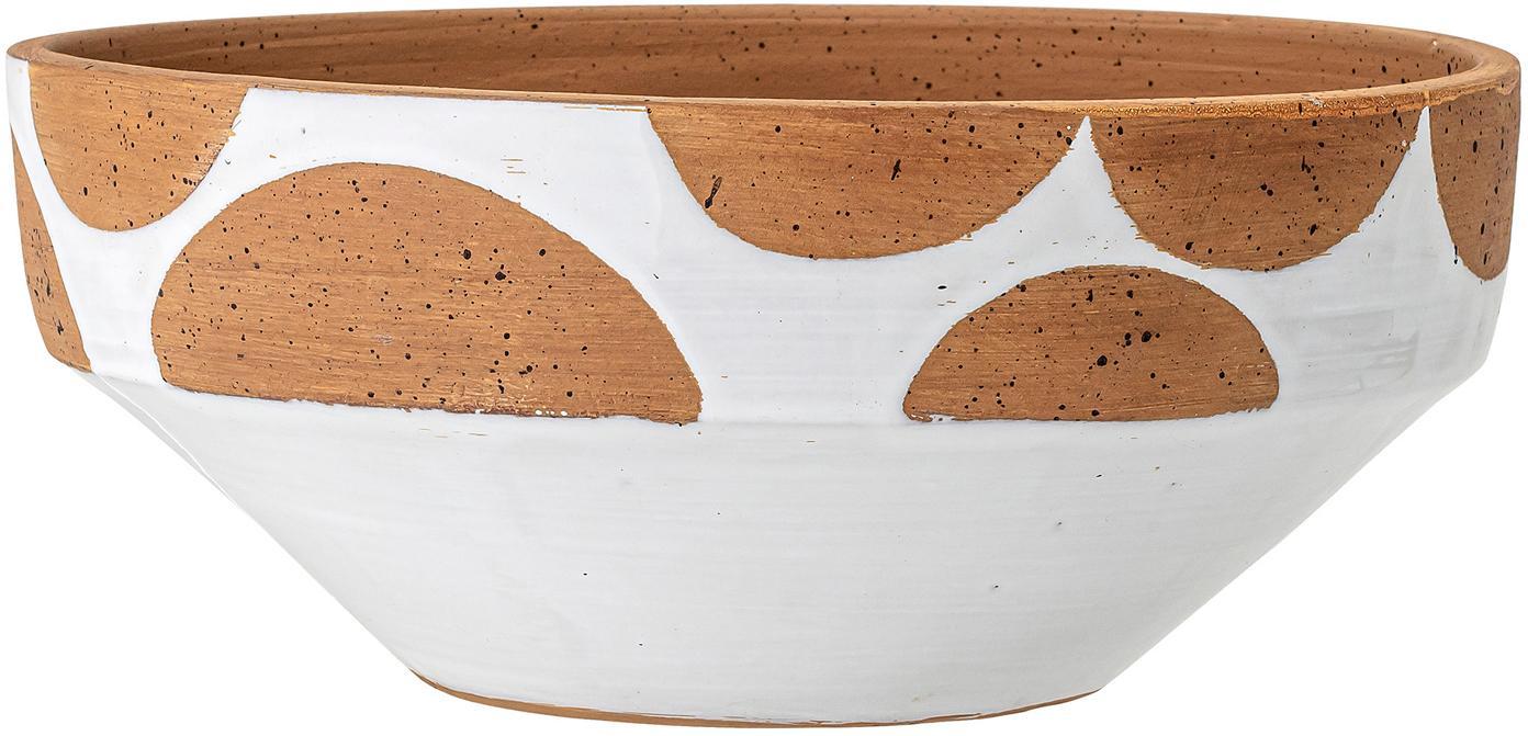 Handgemaakte decoratieve schaal Hakan, Terracotta, Wit, bruin, Ø 32 cm
