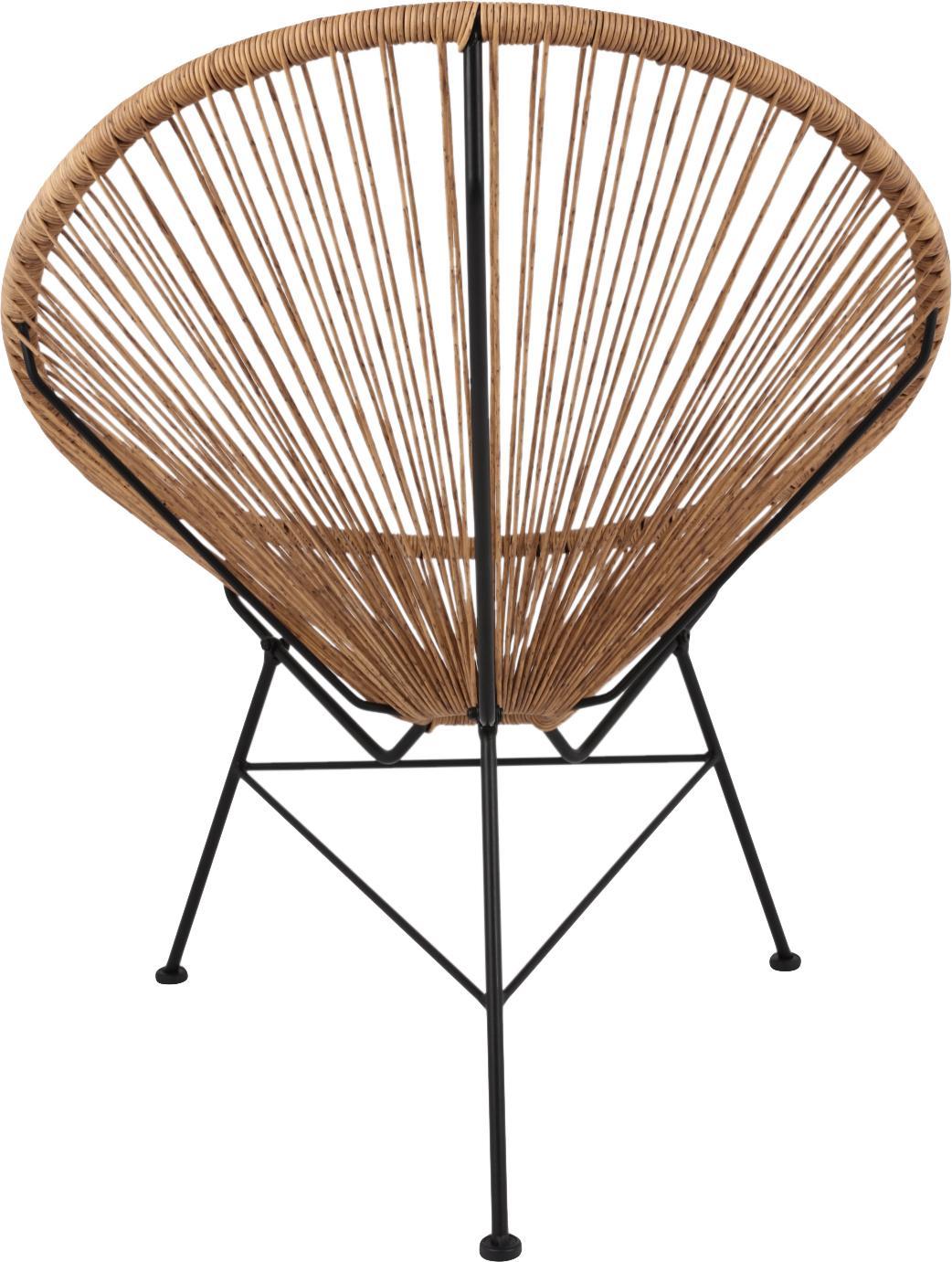 Loungesessel Bahia aus Kunststoff-Geflecht, Sitzfläche: Kunststoff, Gestell: Metall, pulverbeschichtet, Kunststoff: Beige. Gestell: Schwarz, B 81 x T 73 cm