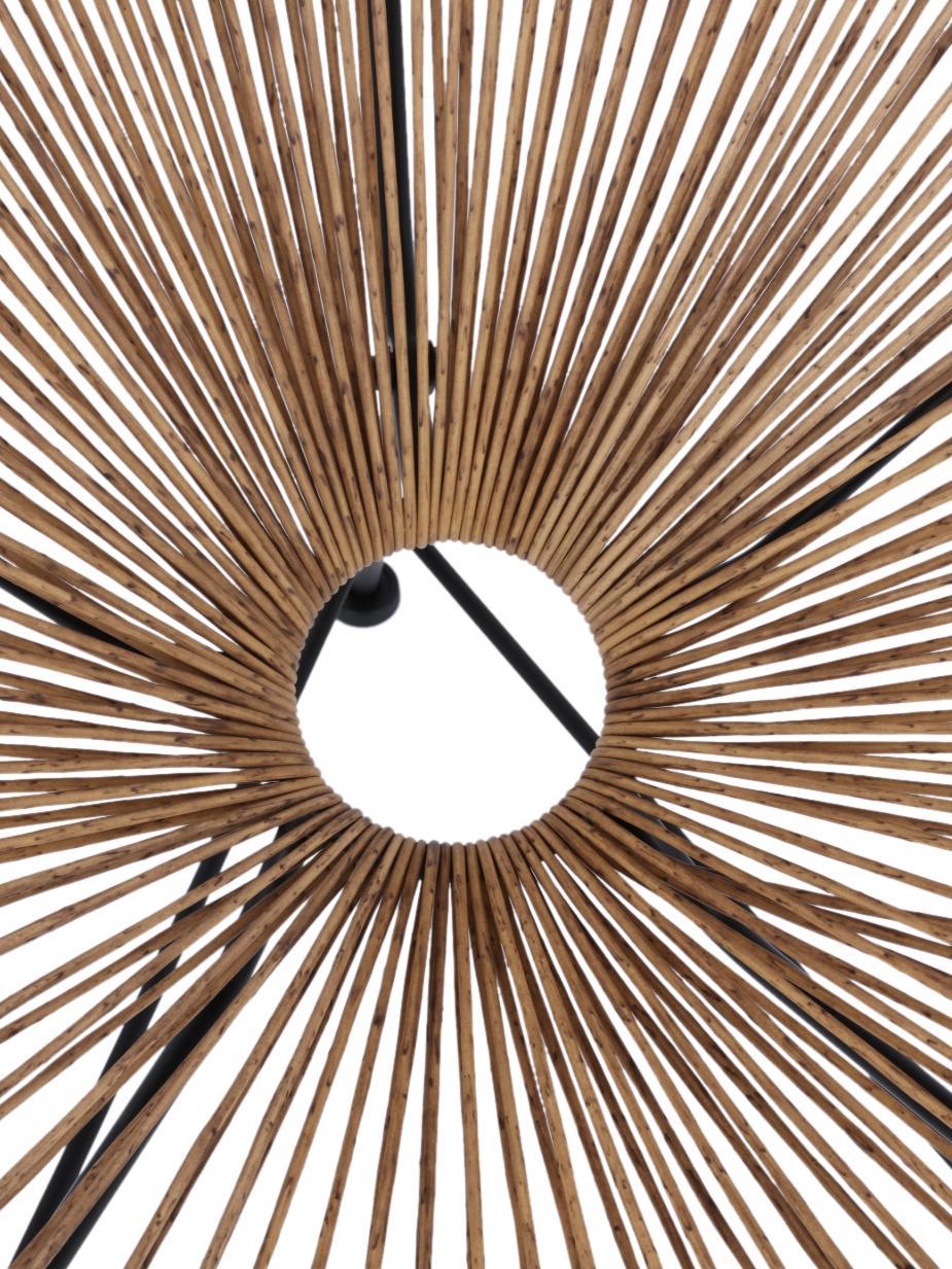 Sedia a poltrona intrecciata Bahia, Seduta: materiale sintetico, Struttura: metallo verniciato a polv, Materiale sintetico: beige Struttura: nero, Larg. 81 x Prof. 73 cm