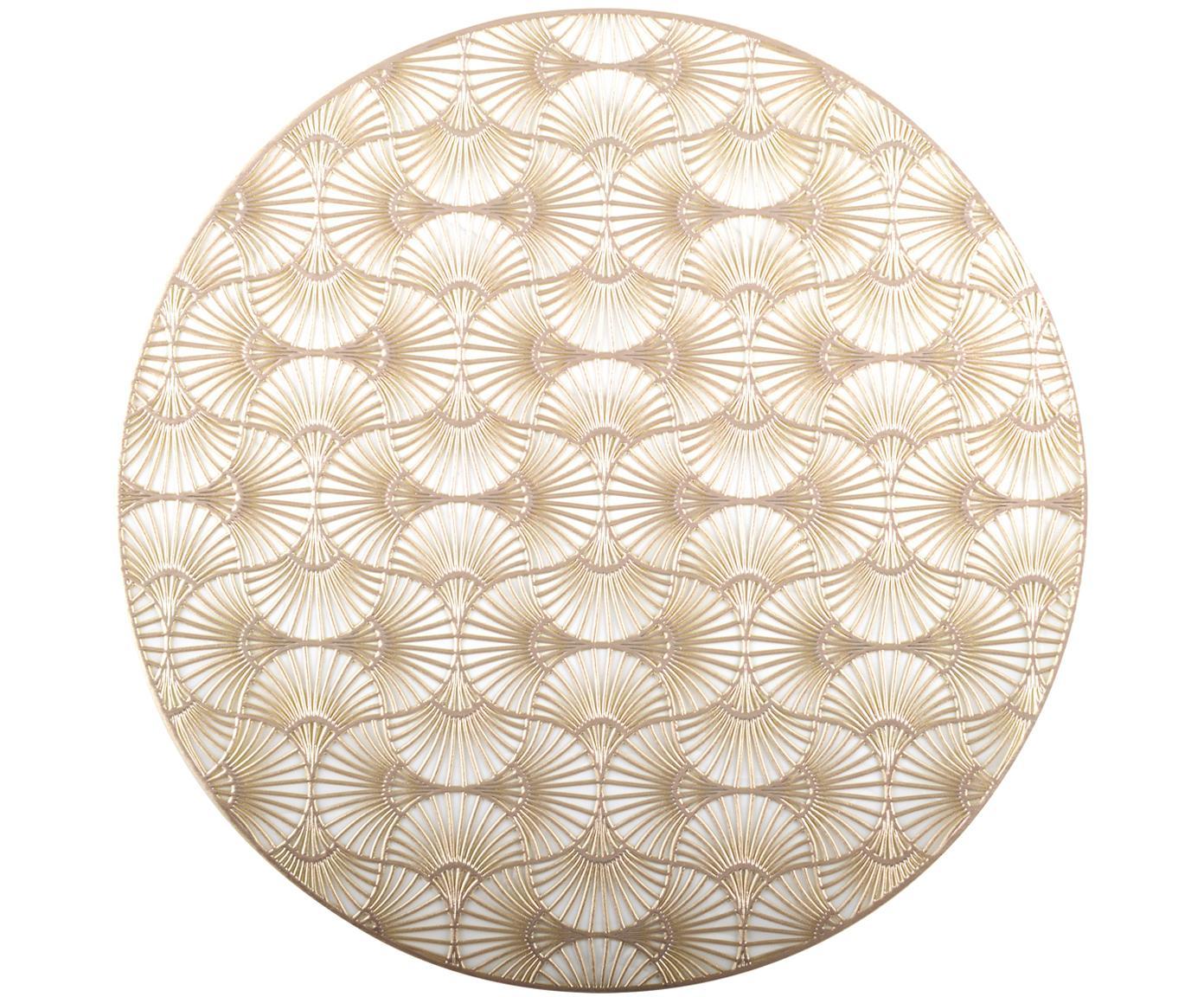 Runde Tischsets Ginkgo in Gold, 2 Stück, Kunststoff, Goldfarben, Ø 38 cm