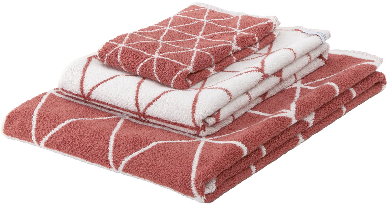 Set asciugamani reversibili Elina, 3 pz., 100% cotone, qualità media 550g/m², Terracotta, bianco crema, Diverse dimensioni