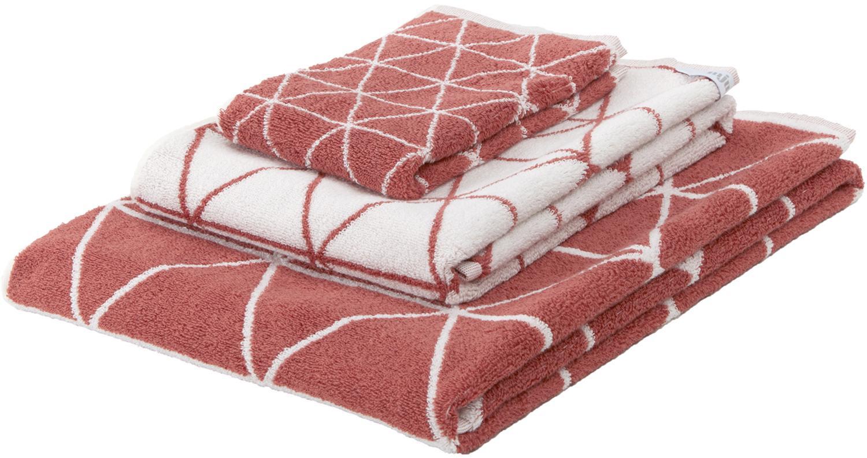 Set 3 asciugamani reversibili Elina, Terracotta, bianco crema, Set in varie misure