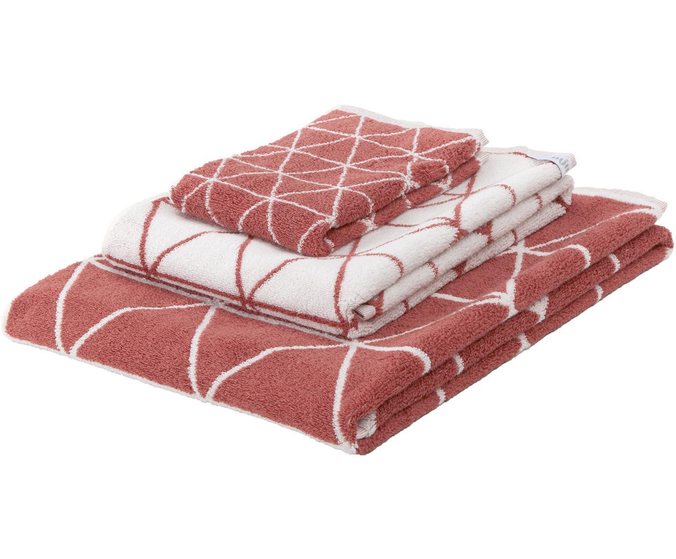 Dubbelzijdige handdoekenset Elina, 3-delig, 100% katoen, middelzware kwaliteit, 550 g/m², Terracotta, crèmewit, Verschillende formaten