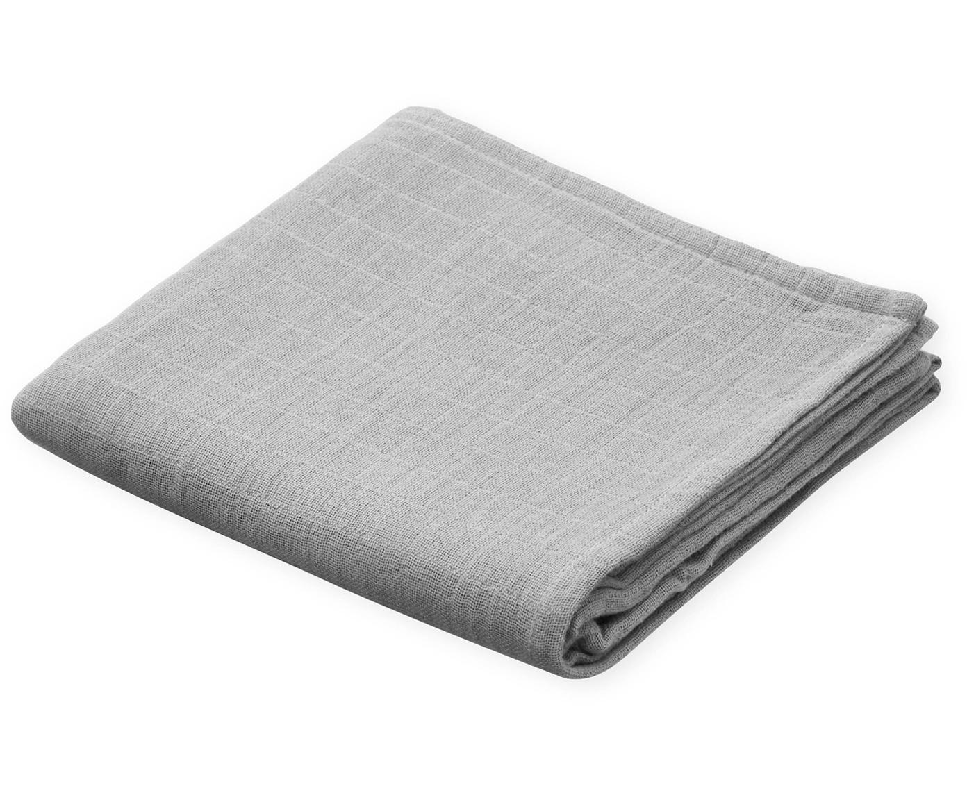 Mulltücher Muslin aus Bio-Baumwolle, 2 Stück, Bio-Baumwolle, GOTS-zertifiziert, Grau, 70 x 70 cm
