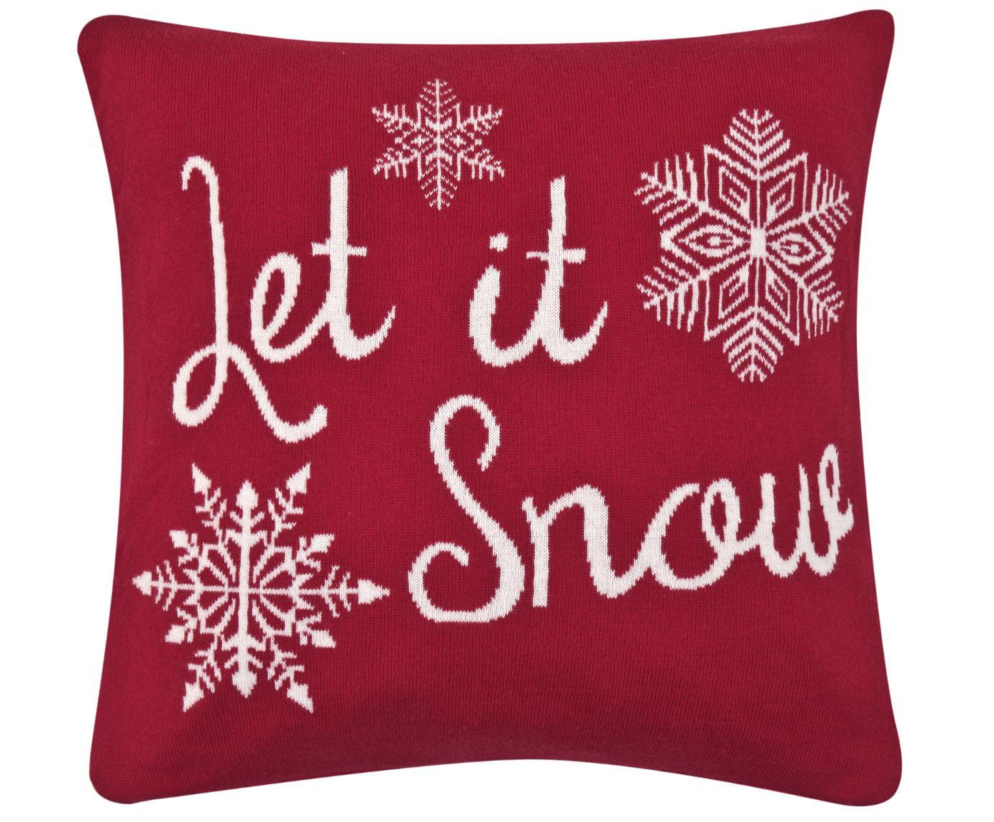 Strick-Kissenhülle Let it Snow in Rot/Weiß mit Schriftzug, Baumwolle, Rot, Cremeweiß, 40 x 40 cm
