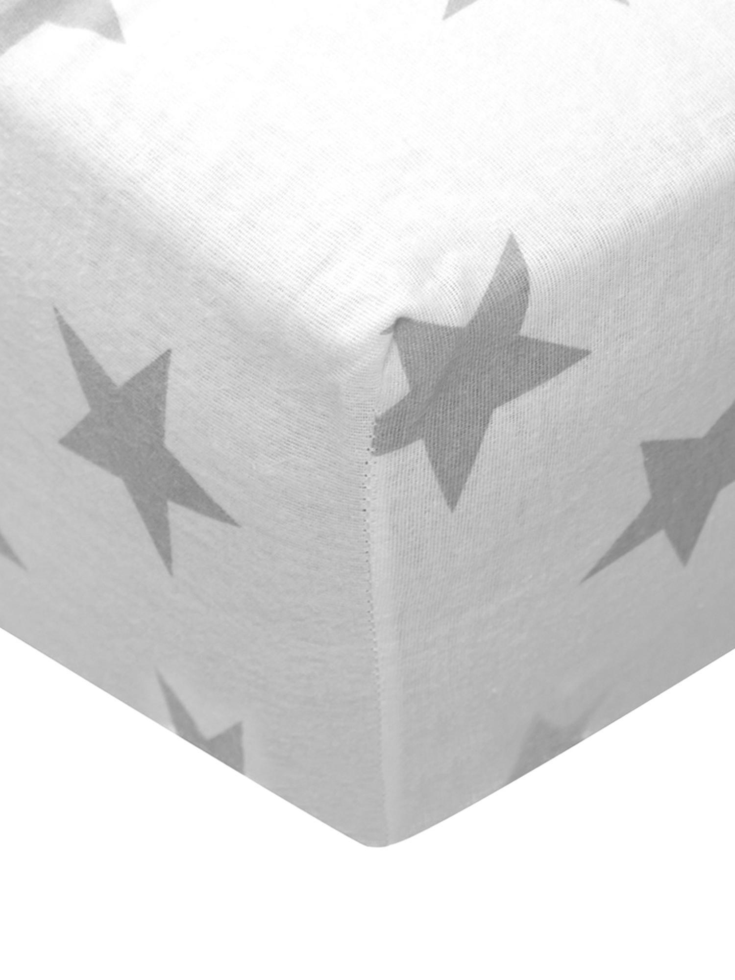 Flanellen hoeslaken Steve, 100% katoen, flanel, Grijs, wit, 90 x 200 cm