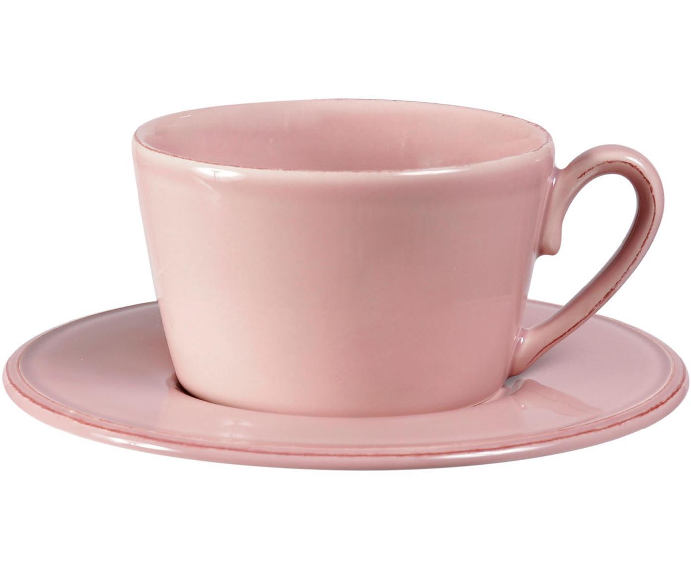 Taza de té con platito Constance, estilo rústico, Gres, Rosa, Ø 19 x Al 8 cm