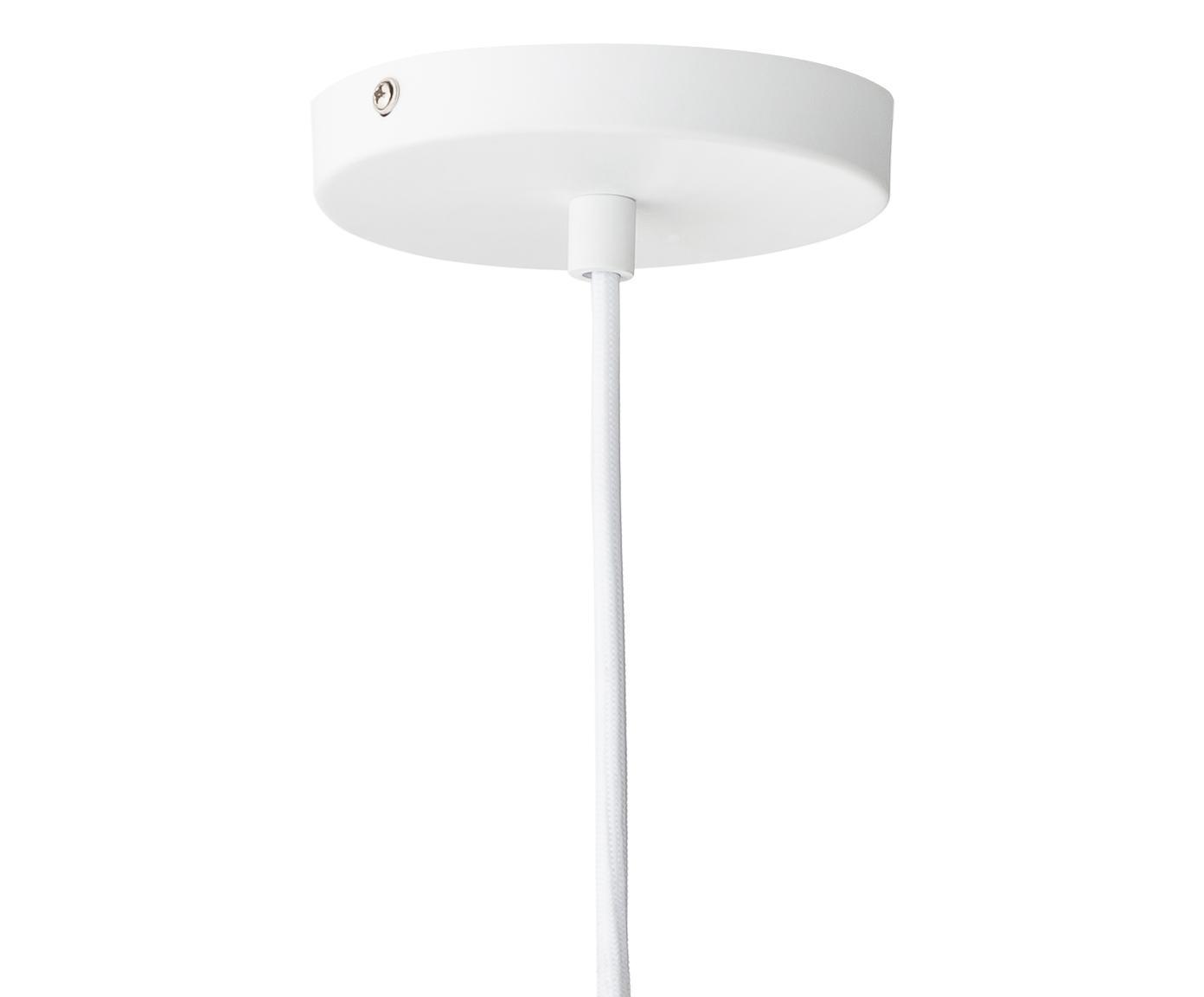 Marmeren hanglamp Siv, Marmer, kunststof, textiel, Wit, messingkleurig, Ø 6 cm