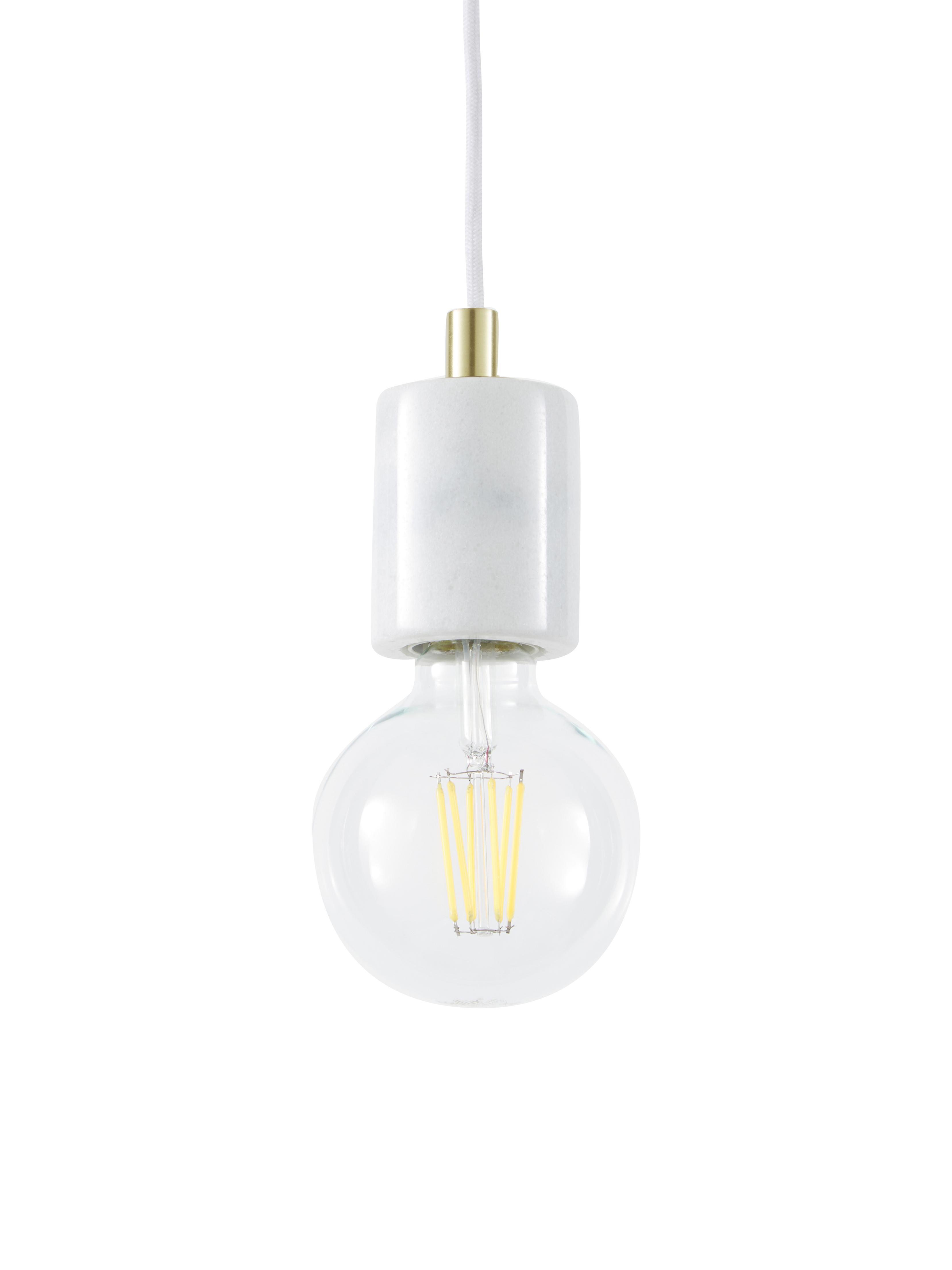 Lámpara de techo de mármol Siv, Cable: cubierto en tela, Blanco, latón, Ø 6 x Al 10 cm
