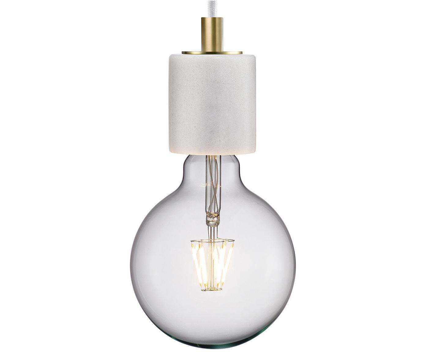 Lámpara de techo de mármo Siv, Cable: cubierto en tela, Blanco, latón, Ø 6 x Al 10 cm