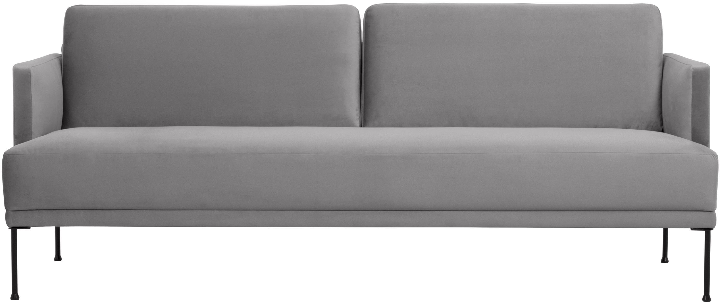 Samt-Sofa Fluente (3-Sitzer), Bezug: Samt (Hochwertiger Polyes, Gestell: Massives Kiefernholz, Füße: Metall, pulverbeschichtet, Samt Hellgrau, B 196 x T 85 cm
