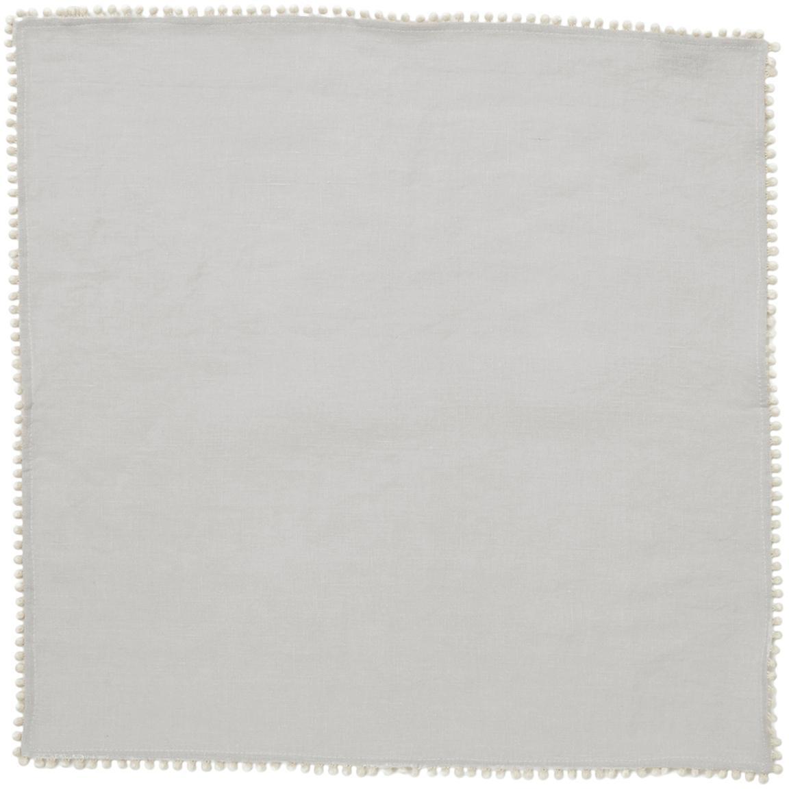 Gewaschene Leinen-Servietten Pom Pom, 4 Stück, Leinen, Hellgrau, 46 x 46 cm