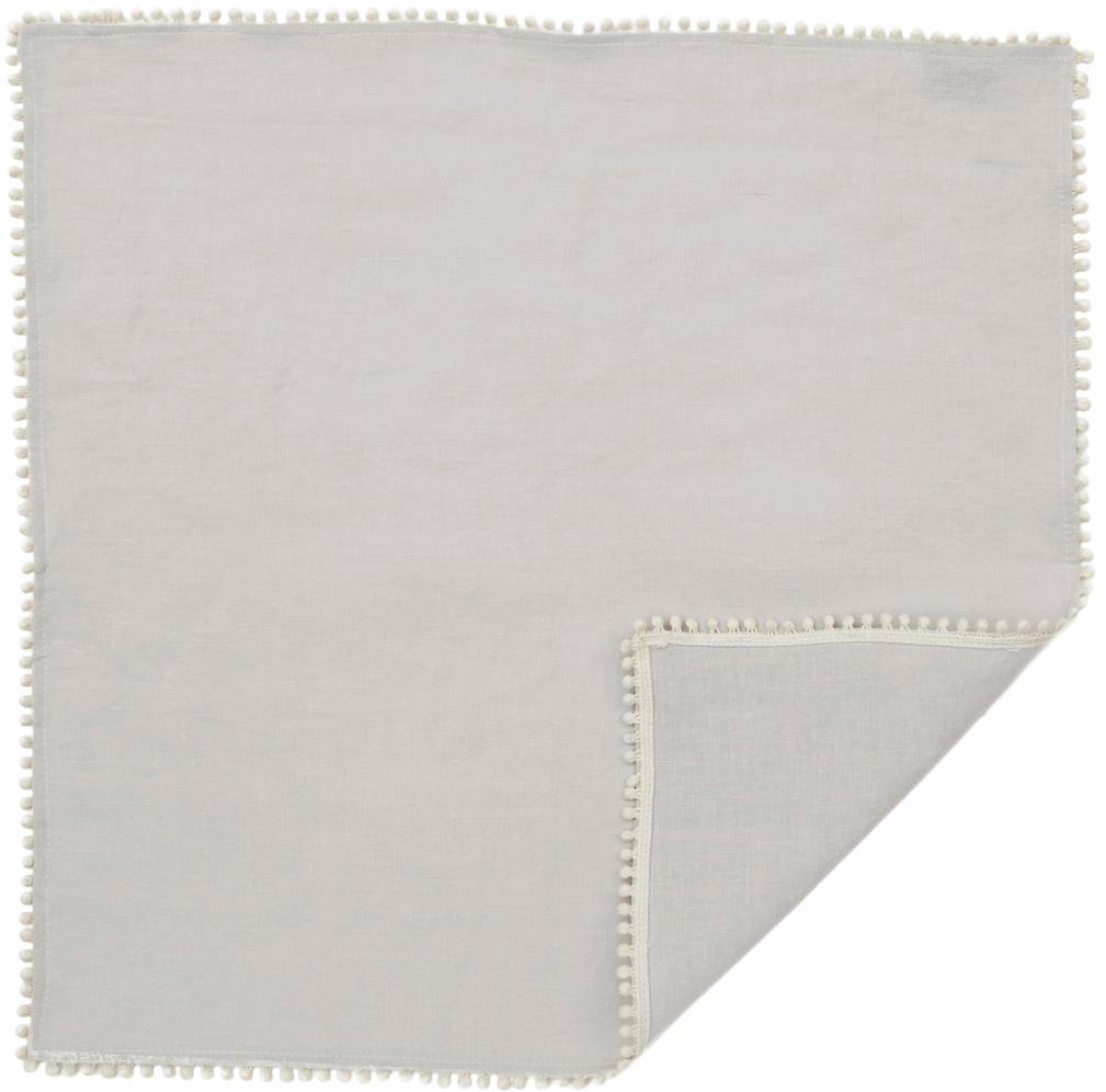 Tovagliolo in lino lavato Pom Pom 4 pz, Lino, Grigio chiaro, Larg. 46 x Lung. 46 cm