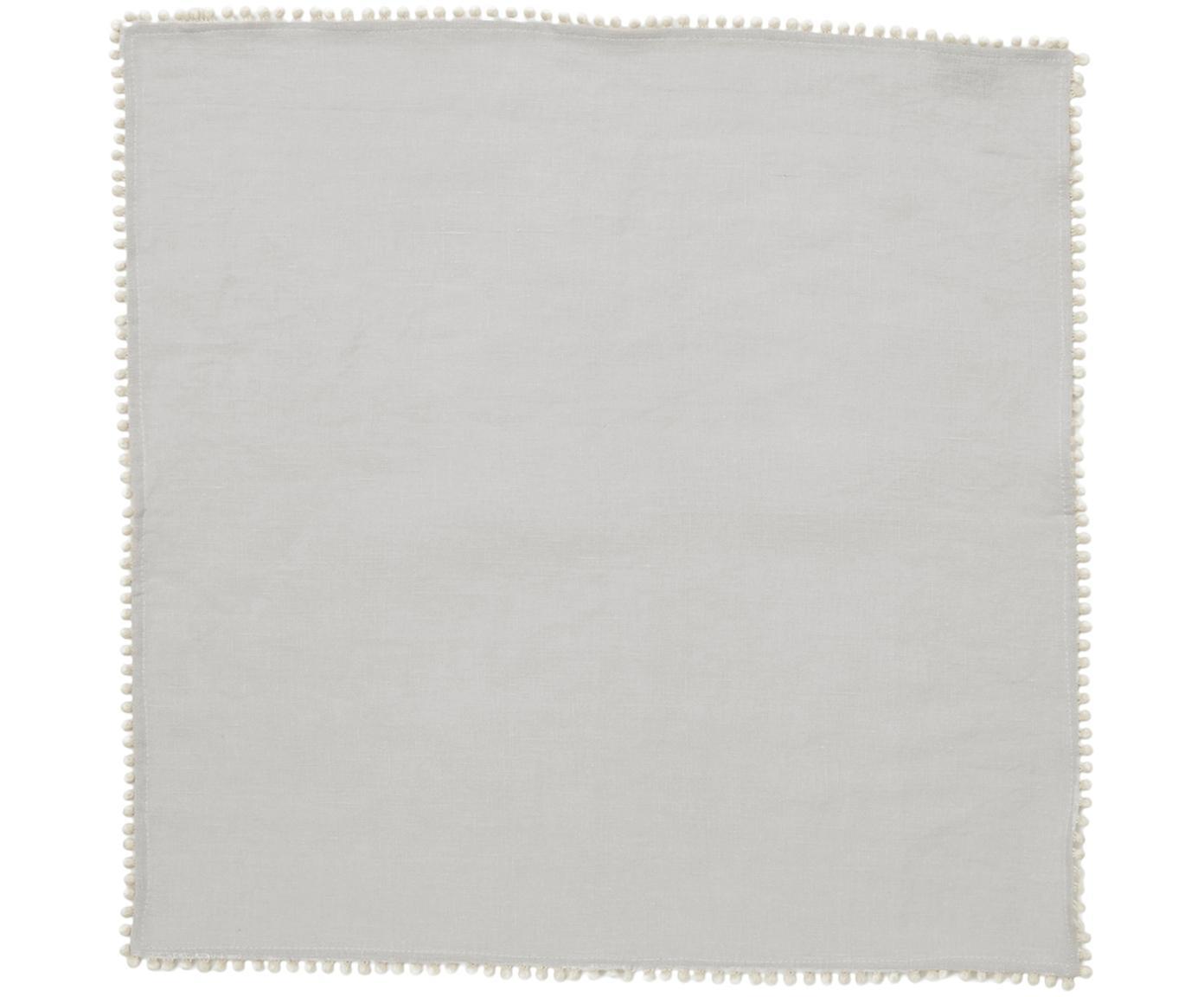Servilletas de lino Pom Pom, 4uds., Lino, Gris claro, An 46 x L 46 cm