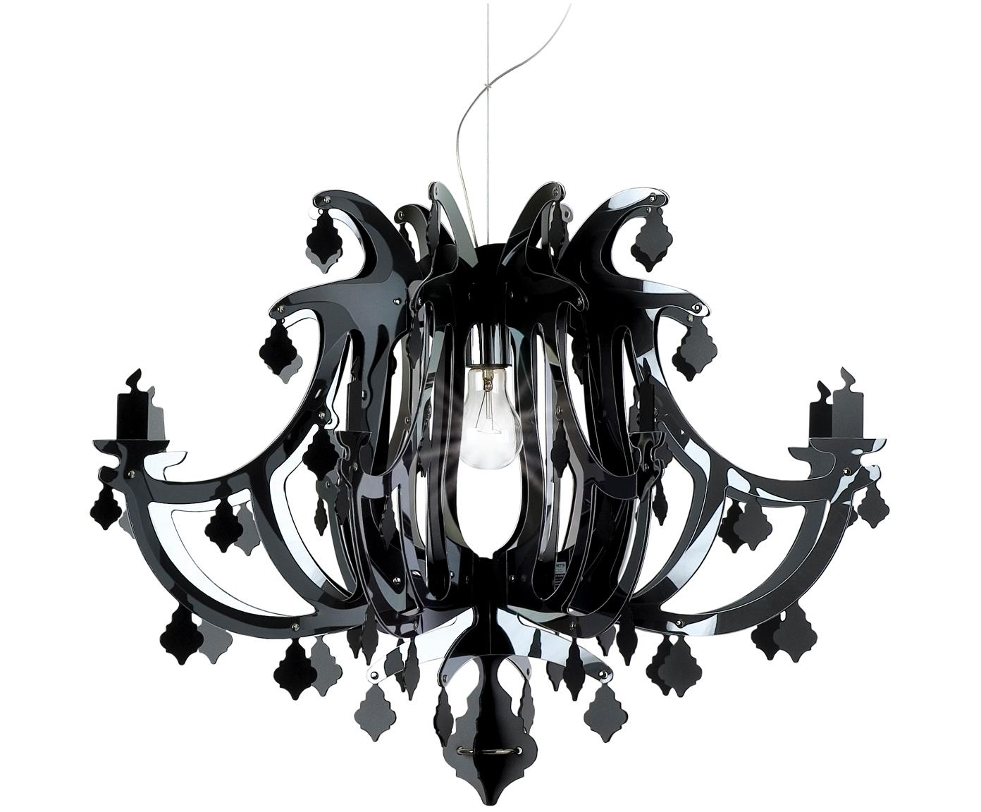 Design hanglamp Ginetta, Polycarbonaat, Zwart, Ø 78 x H 58 cm