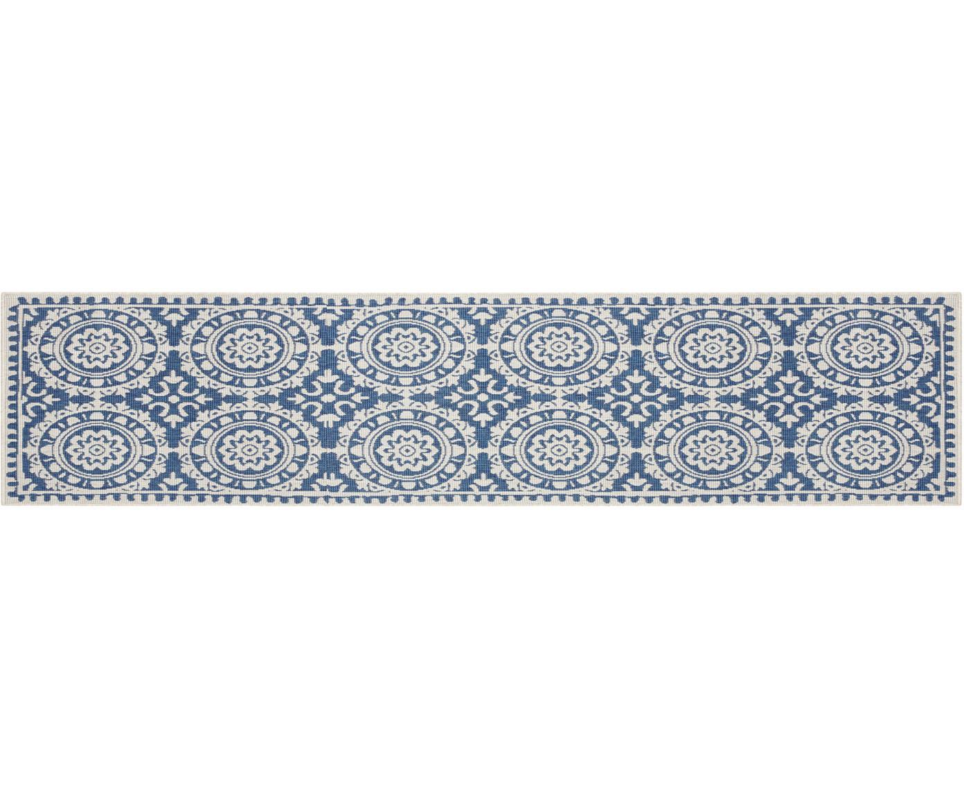 Dubbelzijdige in- en outdoor loper Jardin, Polypropyleen, Blauw, crèmekleurig, 80 x 350 cm