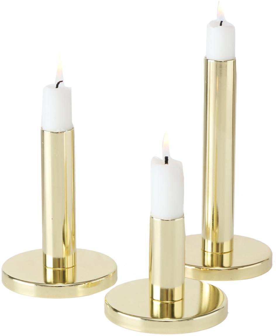 Set de candelabros Malko, 3pzas., Metal, recubierto, Dorado, Set de diferentes tamaños