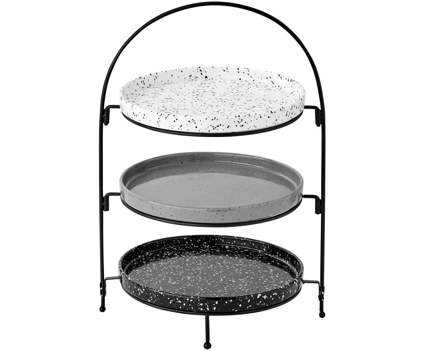 Fuente 3 pisos Tazzo, Bandejas: porcelana, Patas: metal pintado, Negro, blanco, gris, An 30 x Al 55 cm