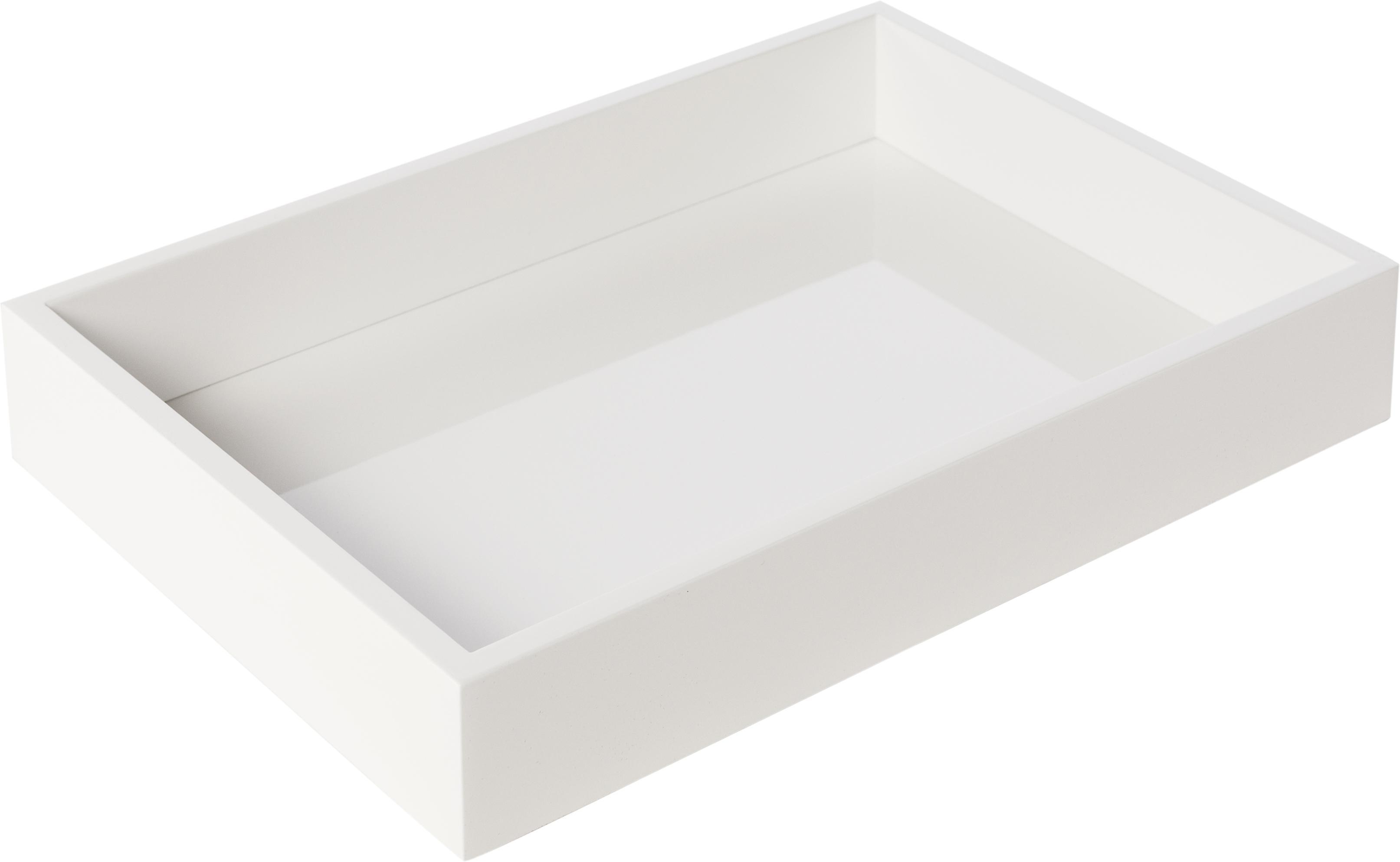 Hochglanz-Tablett Hayley in Weiss, Tablett: Mitteldichte Holzfaserpla, Unterseite: Samtbezug, Weiss, B 33 x T 24 cm
