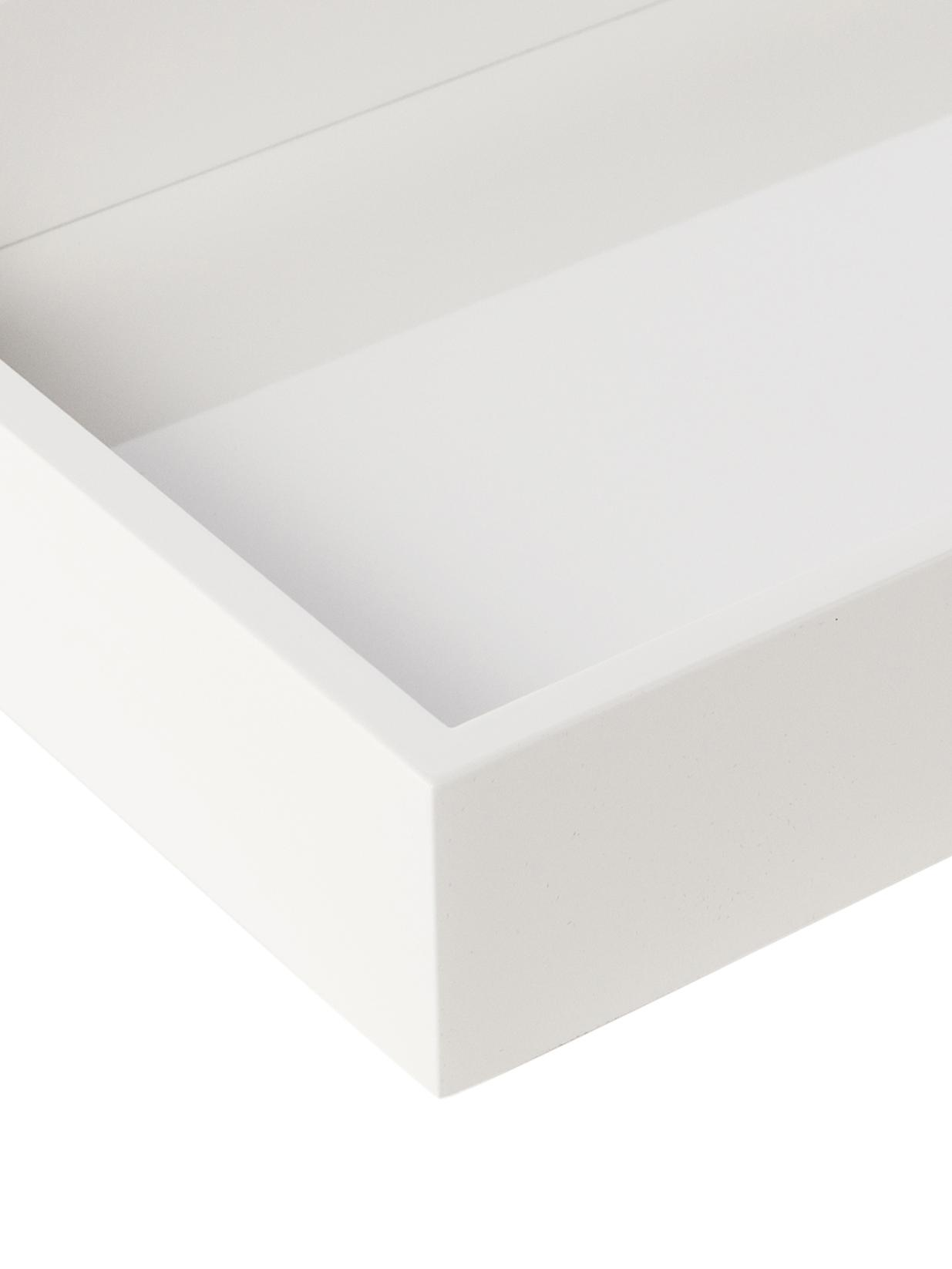 Bandeja brillante Tracy, Bandeja: tablero de fibras de dens, Reverso: terciopelo, Blanco, An 50 x F 35 cm