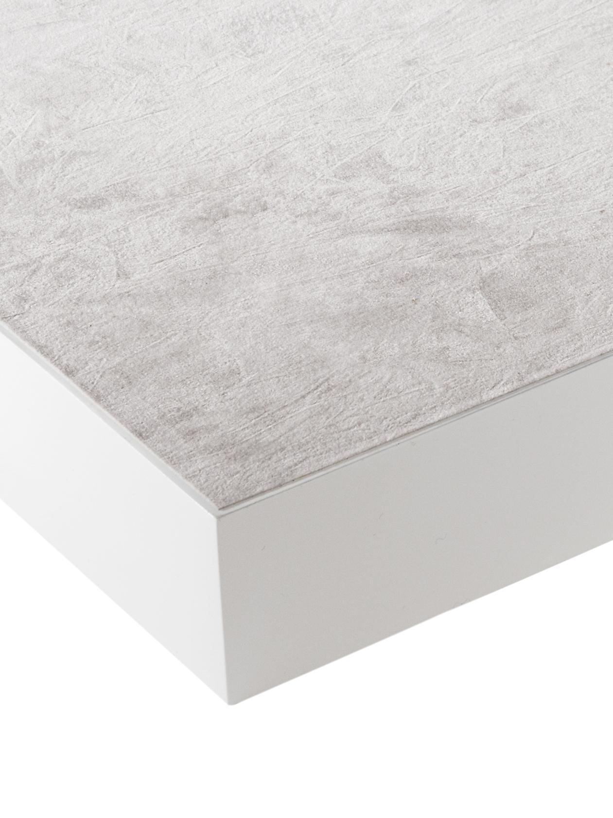 Hochglanz-Tablett Hayley in Weiß, Tablett: Mitteldichte Holzfaserpla, Unterseite: Samtbezug, Weiß, B 50 x T 35 cm