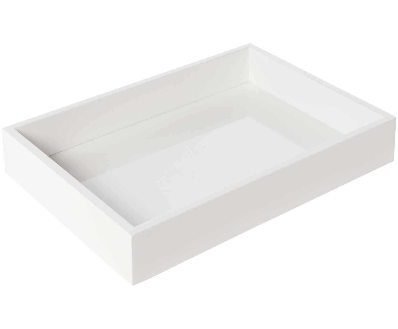 Hochglanz-Tablett Hayley in Weiß, Tablett: Mitteldichte Holzfaserpla, Unterseite: Samtbezug, Weiß, B 33 x T 24 cm