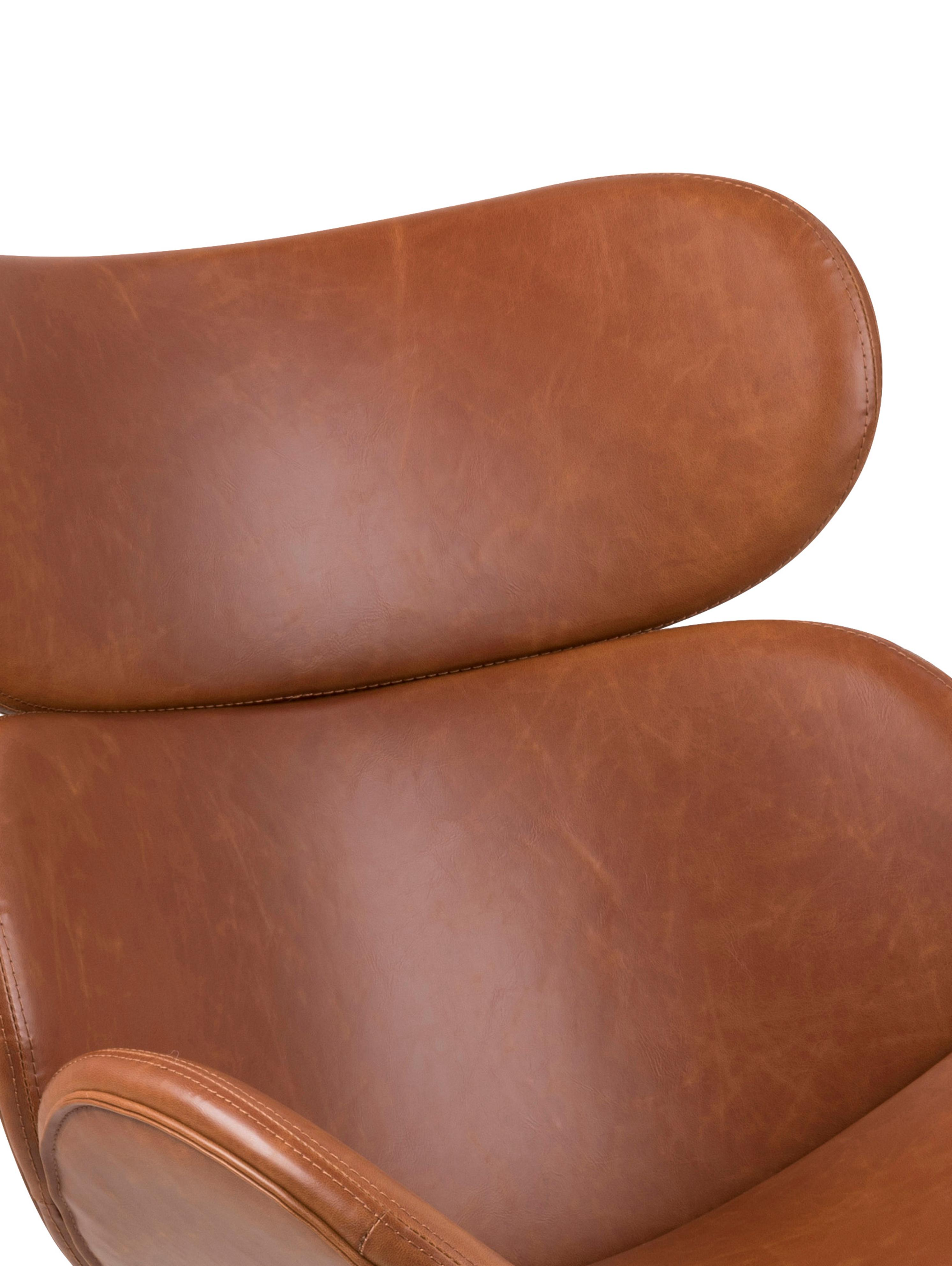 Fotel wypoczynkowy ze sztucznej skóry Cazar, Tapicerka: sztuczna skóra (poliureta, Stelaż: metal malowany proszkowo, Koniakowy, czarny, S 69 x G 79 cm