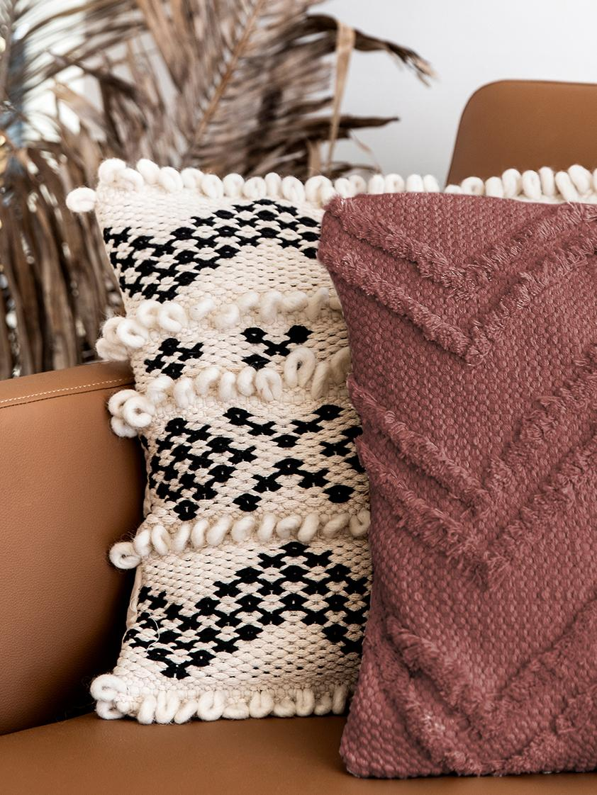 Boho Kissenhülle Akesha mit getuftetem Zickzack-Muster, 100% Baumwolle, Rostrot, 45 x 45 cm