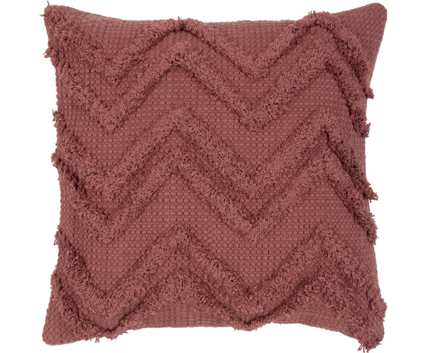 Federa arredo con motivo a zigzag Akesha, Cotone, Rosso, Larg. 45 x Lung. 45 cm