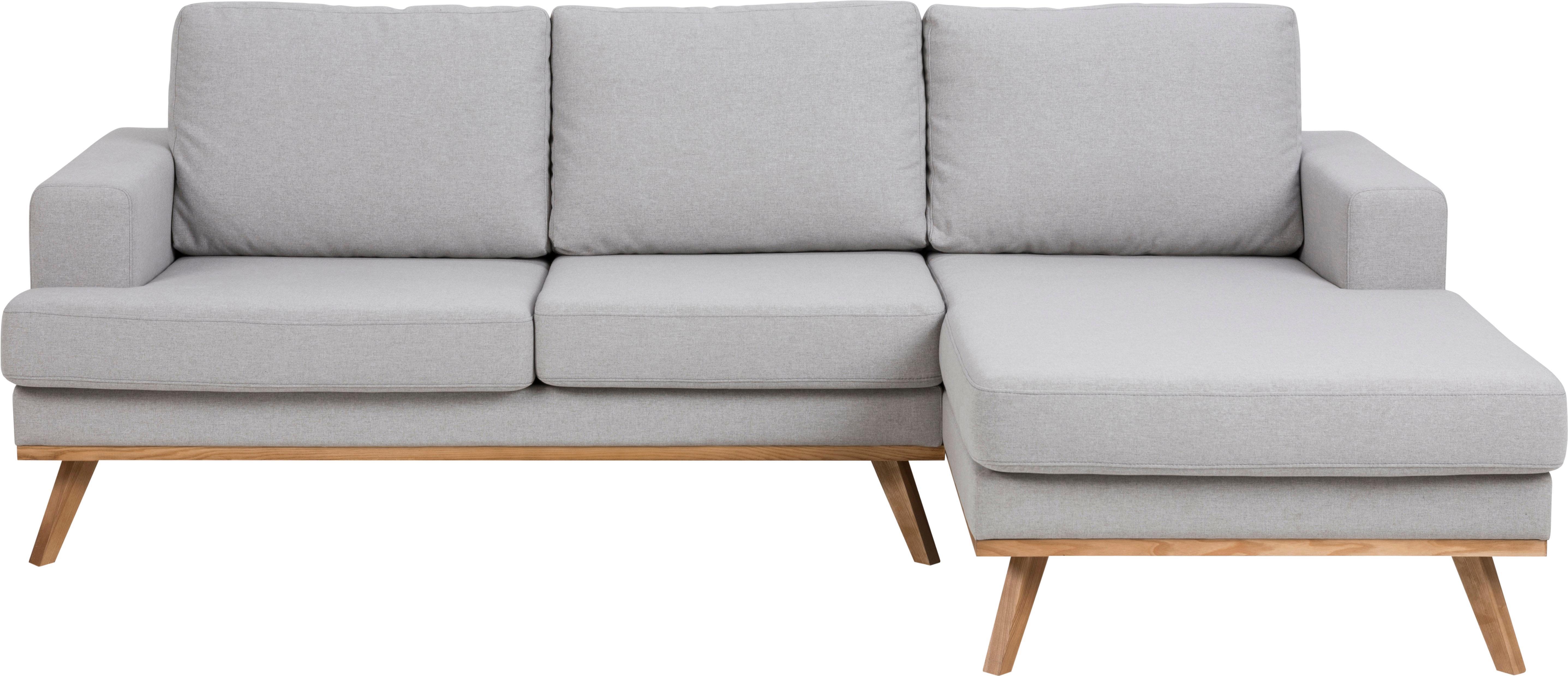 Ecksofa Norwich, Bezug: Polyester, Beine: Buchenholz, gebeizt, Webstoff Hellgrau, B 233 x T 148 cm