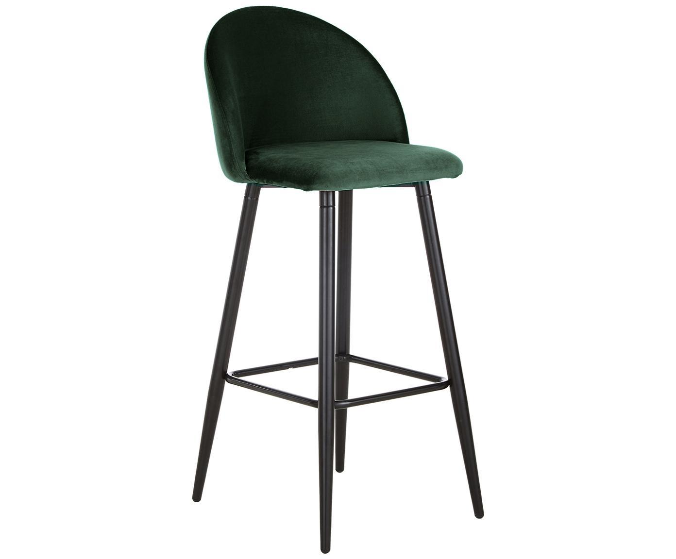 Sedia da bar in velluto verde scuro Amy, Rivestimento: velluto (poliestere) 20.0, Gambe: metallo verniciato a polv, Verde scuro, Larg. 45 x Alt. 103 cm