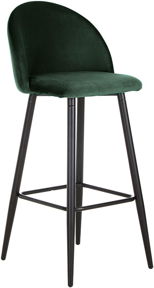 Taburete de bar de terciopelo Amy, Tapizado: terciopelo (poliéster) Re, Patas: metal, pintura en polvo, Verde oscuro, An 45 x Al 103 cm