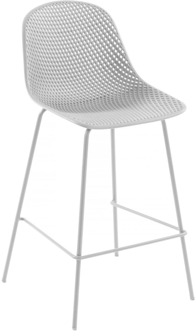 Metall-Barhocker Quinby in Altweiss, Gestell: Metall, lackiert, Sitzfläche: Kunststoff, lackiert, Weiss, 48 x 107 cm