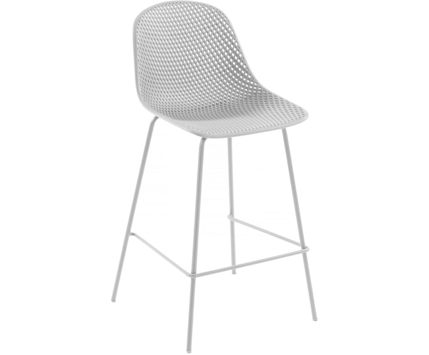 Sgabello da bar in bianco cipria Quinby, Struttura: metallo verniciato, Seduta: materiale sintetico verni, Bianco, Larg. 48 x Alt. 107 cm