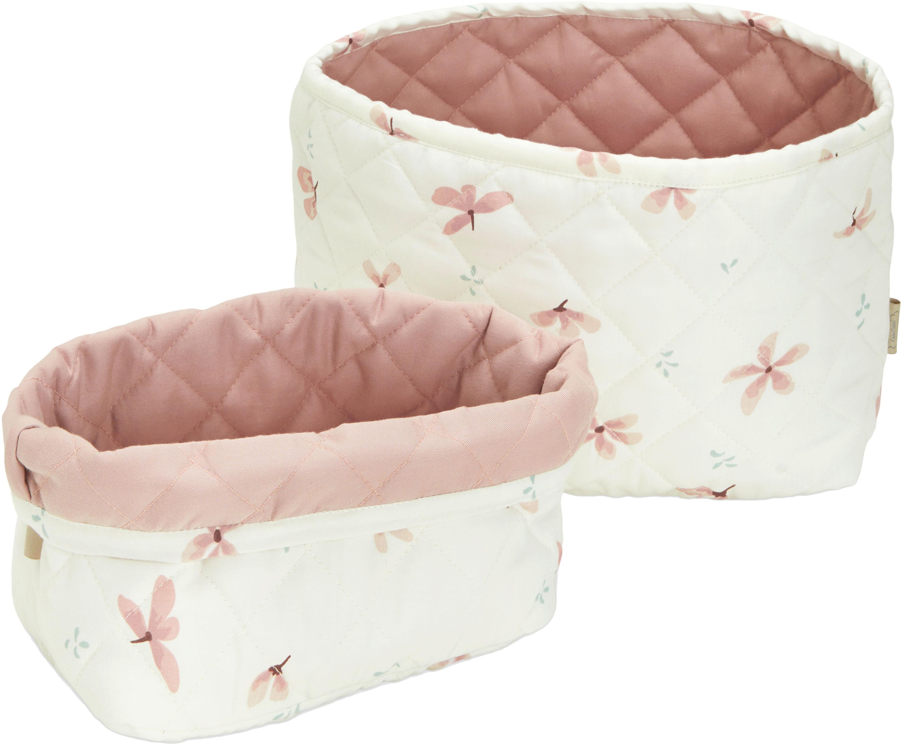 Set de cestas de algodón ecológico Wildflower, 2pzas., Funda: 100%algodón ecológico, c, Crema, rosa, Set de diferentes tamaños