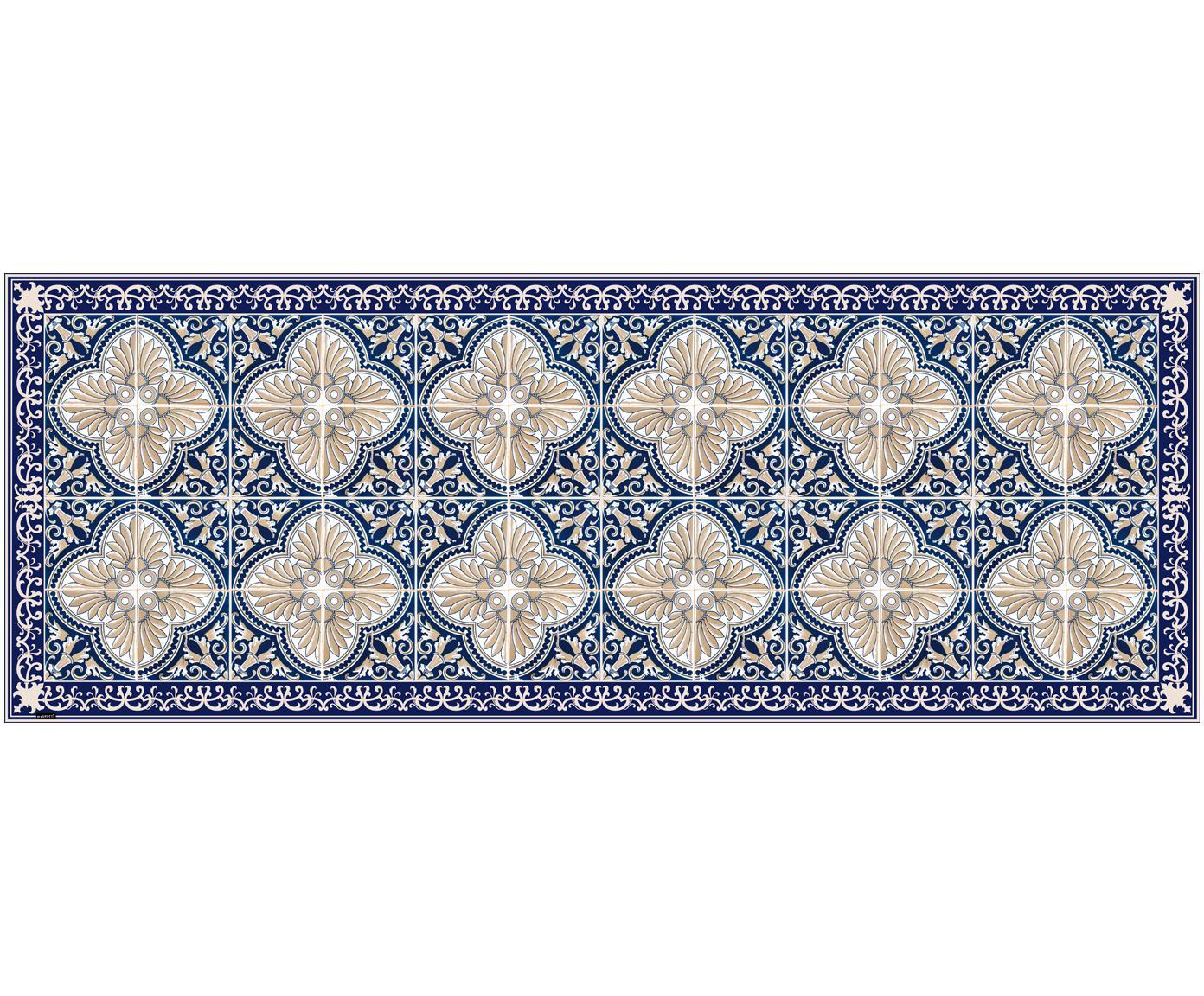 Mata podłogowa z winylu  Luis, Winyl pochodzący z recyklingu, Ciemnyniebieski, beżowy, S 68 x D 180 cm