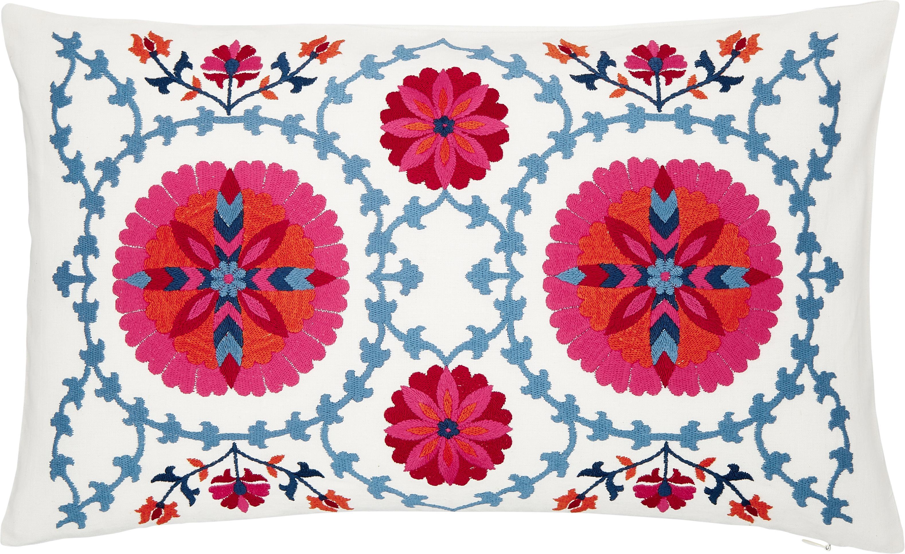 Funda de cojín bordada Tabula, Algodón, Blanco crema, multicolor, An 30 x L 50 cm